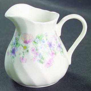 Wedgwood Angela Mini Creamer, Fine China Dinnerware   Pastel Flowers, Swirled Ed