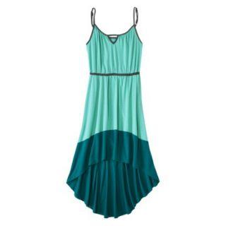 Merona Womens Knit Colorblock High Low Hem Dress   Sunglow Green/Turquoise   XL