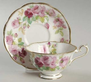 Royal Albert Princess Anne (Brushed Gold Edge) Footed Cup & Saucer Set, Fine Chi