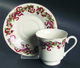 World Bazaars Christmas Ribbon Footed Cup & Saucer Set, Fine China Dinnerware