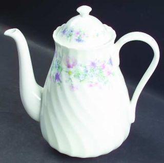Wedgwood Angela Coffee Pot & Lid, Fine China Dinnerware   Pastel Flowers, Swirle