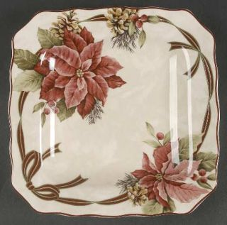 222 Fifth (PTS) Yuletide Celebration Square Salad Plate, Fine China Dinnerware