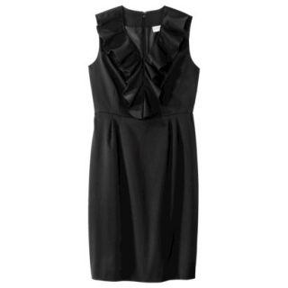 Merona Womens Twill Ruffle Neck Dress   Black   16