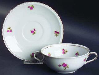 Royal Hanover Rose Time Flat Cream Soup Bowl & Saucer Set, Fine China Dinnerware