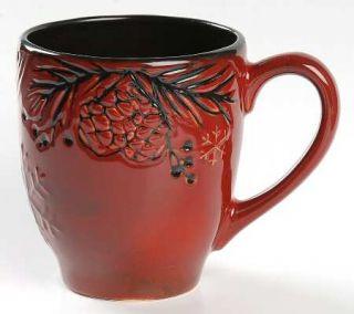 North Pole Trading Co. Pine Retreat Red Mug, Fine China Dinnerware   All Red,Emb