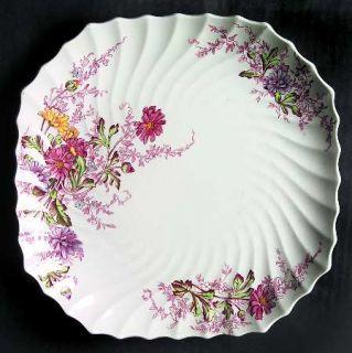 Spode Fairy Dell (Swirled) Square Luncheon Plate, Fine China Dinnerware   Multic