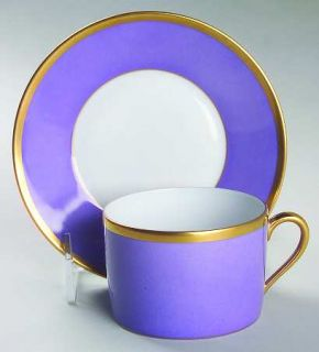 Chas Field Haviland Arc En Ciel Lavender Flat Cup & Saucer Set, Fine China Dinne