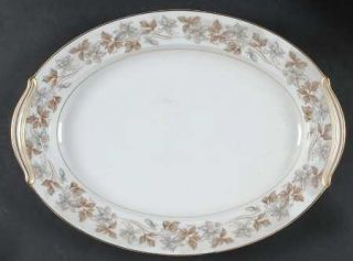 Noritake Allison 16 Oval Serving Platter, Fine China Dinnerware   Gray/Brown Fl