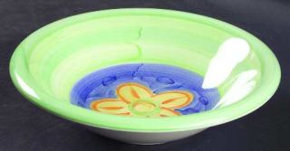 Bob Mackie Bom1 Rim Soup Bowl, Fine China Dinnerware   Green Stripes, Multicolor