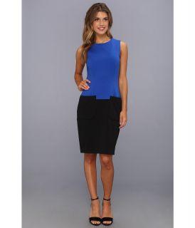 Calvin Klein Color Block Ponte Dress w/ Pockets Womens Dress (Blue)