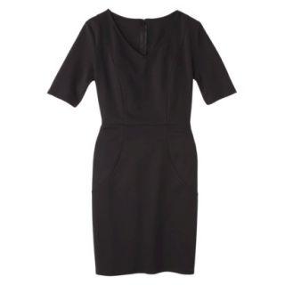 Merona Womens Ponte V Neck Dress   Black   S