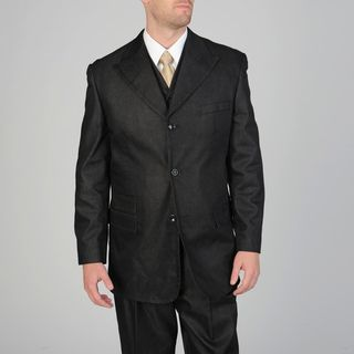 Caravelli Fusion Mens 3 piece Black Vested Suit
