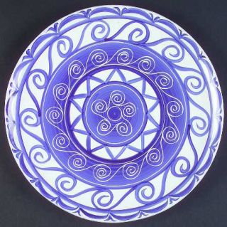 Block China Cote DAzur Dinner Plate, Fine China Dinnerware   Blue & White Scrol