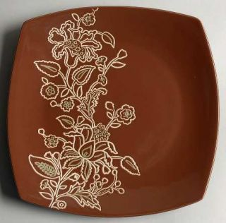 Jaclyn Smith Global Floral Square Dinner Plate, Fine China Dinnerware   Cream Fl