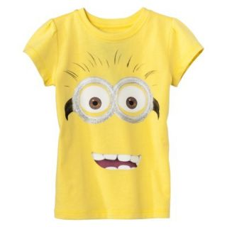 Despicable Me Infant Toddler Girls Short Sleeve Minion Face Tee   Yellow 4T