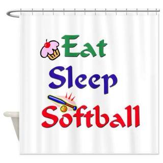 Eat Sleep Softball Shower Curtain Use Code FREECART At Checkout