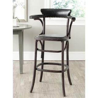 Safavieh Kenny Antique Black Barstool (BlackIncludes: One (1) chairMaterials: Stainless steel, oak wood and PUSeat dimensions: 17.7 inches width and 20.5 inches depthSeat height: 30 inchesDimensions: 42.9 inches high x 23.6 inches wide x 29.3 inches deepW