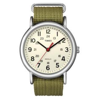 Timex Fullsize Weekender Slip Through Strap Watch   Cream/Olive