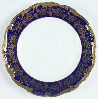 Coalport Hazelton Cobalt Blue Salad Plate, Fine China Dinnerware   Gold Grapevin