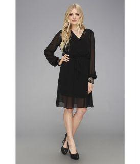 Donna Morgan Mock Wrap Dress Womens Dress (Black)