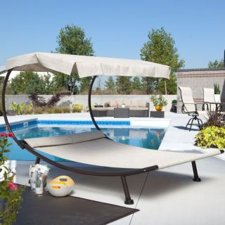 Hayneedle Del Rey Double Chaise Lounge with Canopy Multicolor   DR 9L097A DB