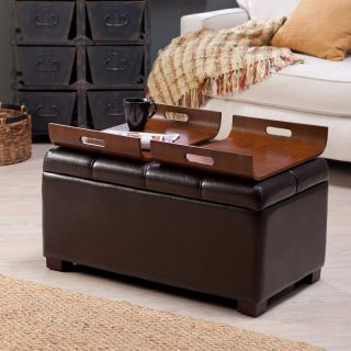 Livingston Storage Ottoman with Tray Tables   Brown   OT 162
