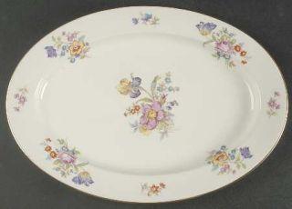Lamberton Linda Lee 14 Oval Serving Platter, Fine China Dinnerware   Floral Gro