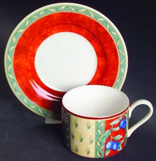 Interiors (PTS) Provence Cream Flat Cup & Saucer Set, Fine China Dinnerware   Gr