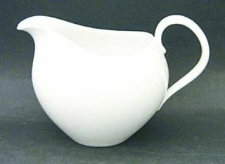 Johann Haviland Eva White Creamer, Fine China Dinnerware   All White, Coupe,Eva