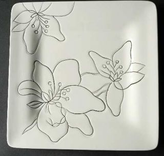 Laurie Gates Anna White Salad Plate, Fine China Dinnerware   All White,Floral,Sq