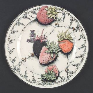 Gien Fraises En Folie Salad Plate, Fine China Dinnerware   Strawberries, Black G