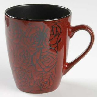 222 Fifth (PTS) Crimson Rose Mug, Fine China Dinnerware   Red Roses On Black,Cou