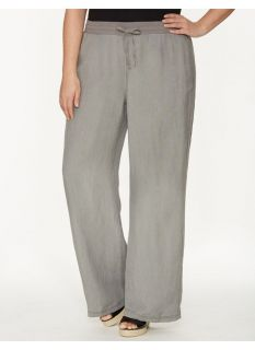 Lane Bryant Plus Size Linen wide leg pant     Womens Size 14/16, Frost Gray