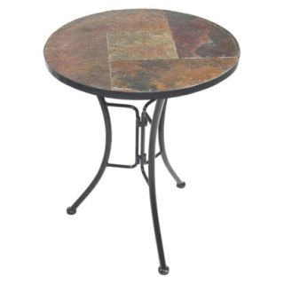 Coffee Table Slate Round Top End Table   Brown/Black