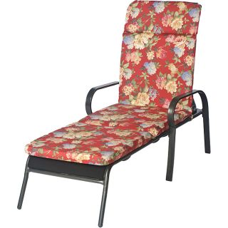 Ali Patio Polyester Crimson Red Floral Smooth Edge Hi back Outdoor Chaise Lounge Cushion (Crimson red, with accents of hunter green, sage green, rose red, beige, tan, cream, light blue, steel blueMaterial: Polyester fabricFill: 2 inches of polyester fiber