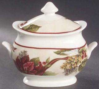 222 Fifth (PTS) Yuletide Celebration Sugar Bowl & Lid, Fine China Dinnerware   R