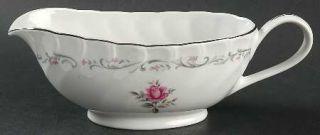 Fine China of Japan Royal Swirl Gravy Boat, Fine China Dinnerware   Pink Flowers