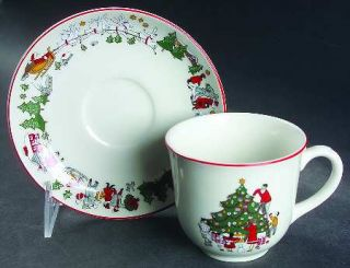 Cuthbertson Family Christmas Flat Cup & Saucer Set, Fine China Dinnerware   Sant
