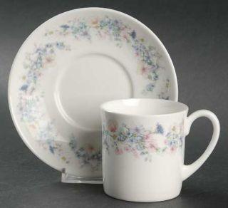 Wedgwood Angela Flat Cup & Saucer Set, Fine China Dinnerware   Pastel Flowers, S