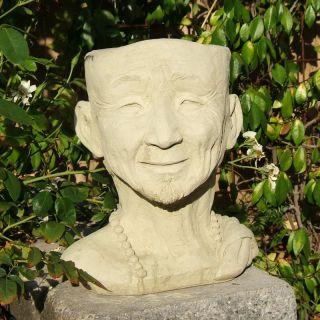 Designer Stone Monk Head Planter Multicolor   2074