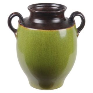 14 Vase With Handles   Green/Brown