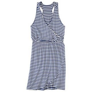 Merona Petites Sleeveless V Neck Dress   Blue/Cream XSP
