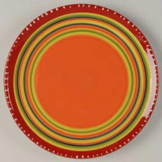 Hot Tamale Salad Plate, Fine China Dinnerware   Red,Orange,Green,Yellow,Stripes,