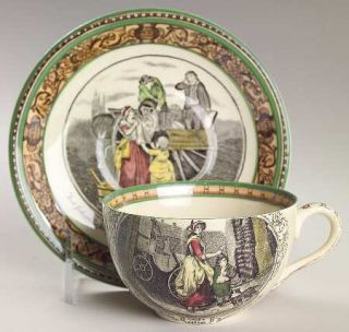 Adams China Cries Of London (Green & Brown Rim) Flat Cup & Saucer Set, Fine Chin