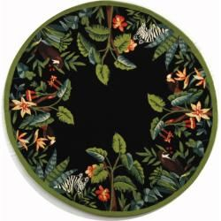 Hand hooked Chelsea Jungle Black Wool Rug (8 Round)