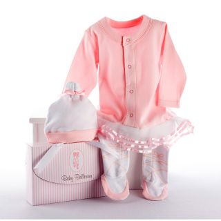 Baby Aspen Big Dreamzzz 2 piece Layette Set In Baby Ballerina (PinkIncludes One (1) hat, one (1) body suitPink and white striped gift box with a satin bowSize Newborn to 6 monthsCare instructions Machine washMaterials Cotton/organza Model number BA16