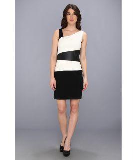 Ivy & Blu Maggy Boutique Check Neck Colorblock Shift Dress Womens Dress (Black)