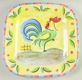 Bella Rooster Square Dinner Plate, Fine China Dinnerware   Peach&Blue Edge,Green