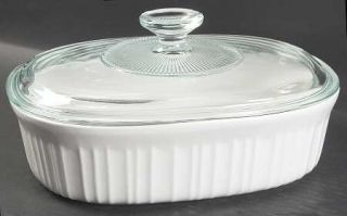 Corning French White (Bakeware) 1.5 Quart Oval Covered Casserole, Fine China Din