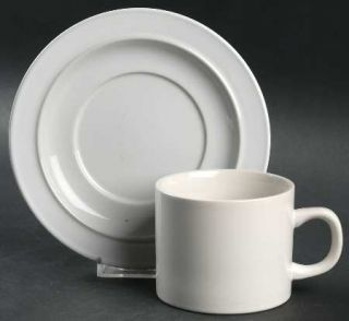 Corning Duo White Flat Cup & Saucer Set, Fine China Dinnerware   Prego,Crown Cor